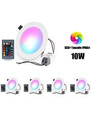 Flowlamp 4x Downlight LED Techo 10W Foco Empotrable Plafón LED Panel Redondo Extraplano Lámpara Luz de Techo con Control Remoto para Baño Cocina Sala de Estar, Regulable, RGB+Blanco 16 Colores