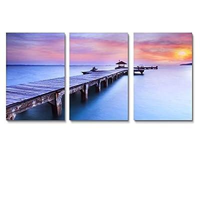Long Bridge Ocean Sunset Painting Artwork for Home...