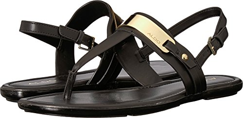 ALDO Women's Nigolian Flat Sandal, Black Synthetic, 8 B US