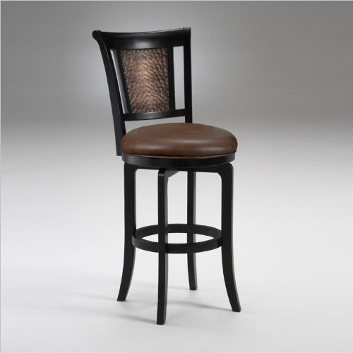 Hillsdale Furniture Cecily 47.75-Inch Swivel Bar Stool, Black/Honey Finish