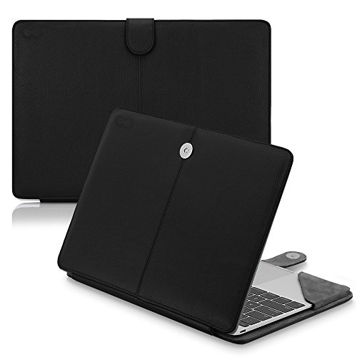 Suede Folio Case (12 inch MacBook (2015) CaseCrown Elite Folio Book Cover Case (Black))