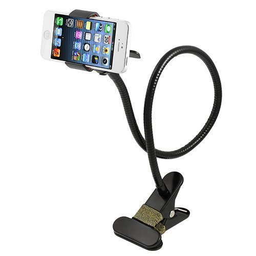 Price comparison product image Cellphone Stand Holder, AFUNTA Universal 360 Degree Rotation Flexible Long Arms Gooseneck Lazy Bracket for iPhone iPad GPS Samsung LG Blackberry Devices -Black