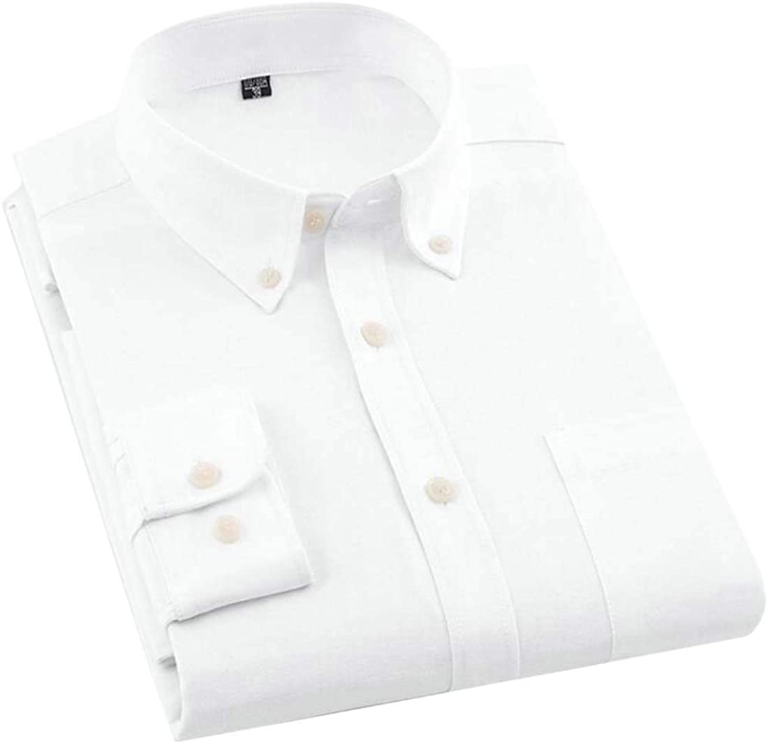Hajotrawa Mens Pocket Work Dress Solid Business Slim Button Down Shirts