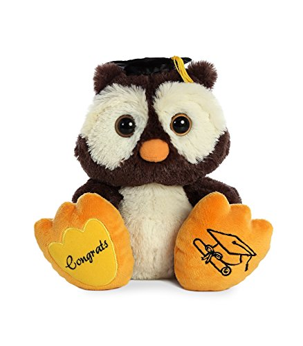 Aurora World Graduation Owl Stuffed Animal, Brown and White, 10