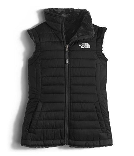 The North Face Girls Reversible Mossbud Swirl Vest - TNF Black - XS Breathable Fleece Reversible Jacket