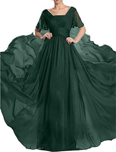 piedras gran Dunkelgruen Mujer a de fiesta de de línea aermel corta Prom gasa noche ressing para fijo de vestido vestido ivyd vestido calidad 0wqxtBnC