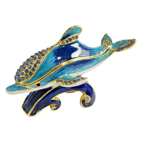 Dolphin Keepsake - Blue Dolphin Riding Wave Bejeweled Collectible Trinket Jewelry Box