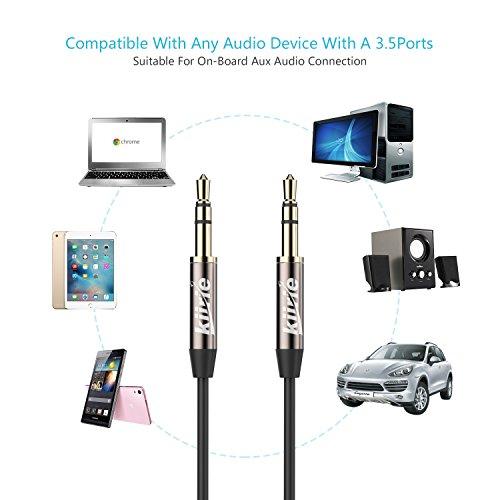 Cavo audio Kiirie 2-pack (1m/1m, 2m/2m) 3.5mm stereo premium ausiliario AUX cavo per cuffie Beats, iPhone, iPod, iPad, casa/auto e più