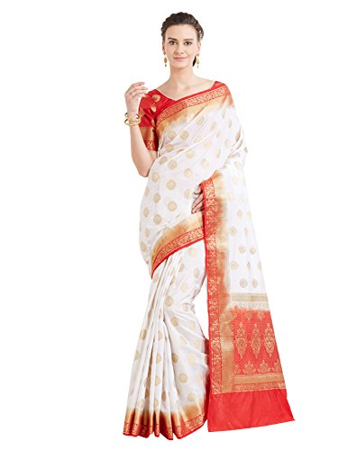 Viva N Diva Sarees for Women's Banarasi Latest Design Cream & Red Colour Banarasi Art Silk (Two Tone Silk) Saree with Un-Stiched Blouse Piece,Free (Designer Chiffon Sarees)