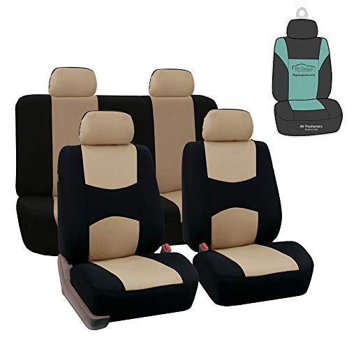 FH Group FB050114 Flat Cloth Seat Covers (Beige) Full Set with Gift - Universal Fit for Cars Trucks & SUVs