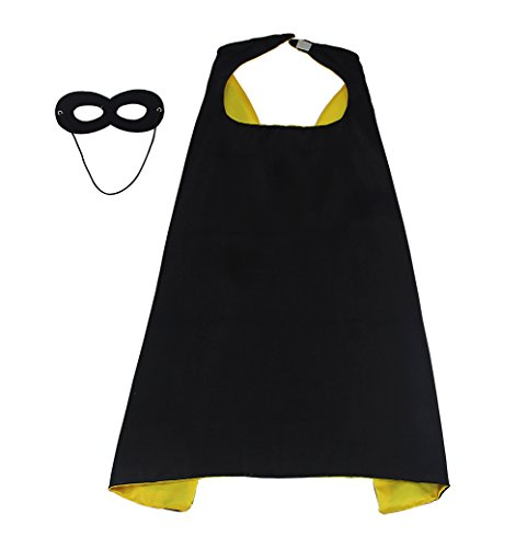 Diy Black Dress Costume (LYNDA SUTTON DIY Childrens Superhero Dress Up Costumes 1 Cape+1 Mask Double sided Black+Yellow Color 27.5