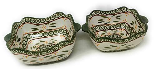 Temp-tations Set of 2 Bowls Scalloped Edge, Mix, Bake, Serve, 1.5 Qt & 1.0 Qt (Old World Green)
