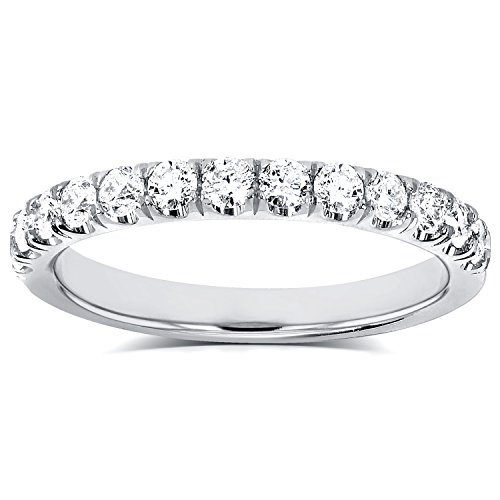 Diamond Comfort Fit Flame French Pave Band 1/2 carat (ctw) in 14K White Gold by Kobelli