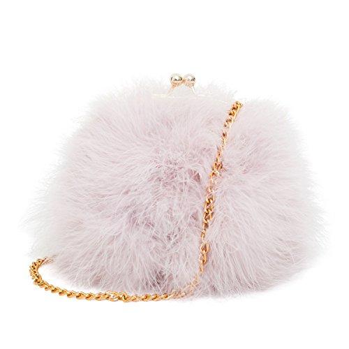 - Mogor Women's Faux Fur Fluffy Feather Round Clutch Shoulder Bag Light Pinkpurple