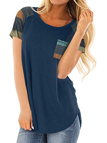 Royalove Women Lightweight Color Block Short Sleeve Loose Fit Basic Tshirt Tee Shirts Top Navy L
