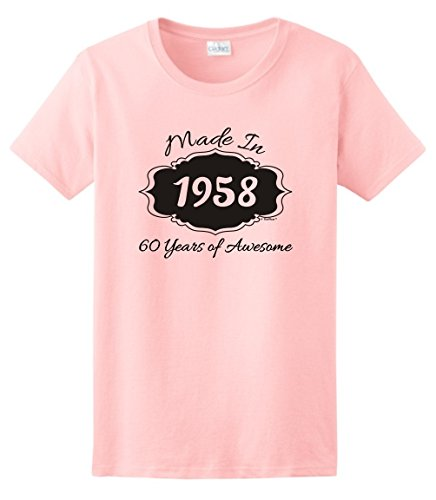 60th Birthday Party Supplies 60th Birthday Gifts Made 1958 60 Years of Awesome Ladies T-Shirt Large Light (Awesome Womens Light T-shirt)