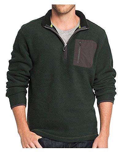 G.H. Bass & Co. Men's 1/4 Zip Long Sleeve Sweater Fleece (Green Rosin, Large) ()