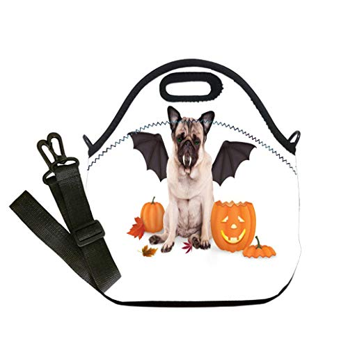 Custom Digital Printing Insulated Lunch Bag,Neoprene Lunch Tote Bags pug dog dressed up as bat for halloween with funny pumpkin lantern Student Company School, Multicolor, Adults and Children ()