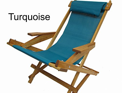 Wooden Folding Rocking Chair with All Weather Sling (Turquoise) ()