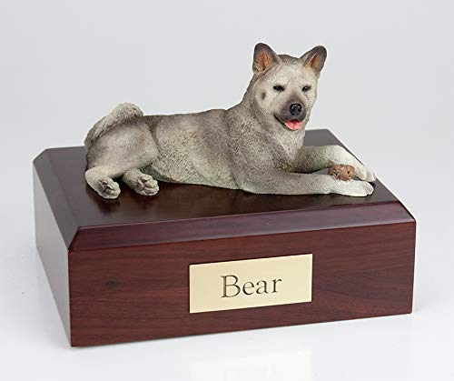King Products Pet Cremation Urn - Akita Gray, Laying Figurine On Traditional, X-Large-Sized, Oak Wood Urn. (See Color Swatch for Actual Color)