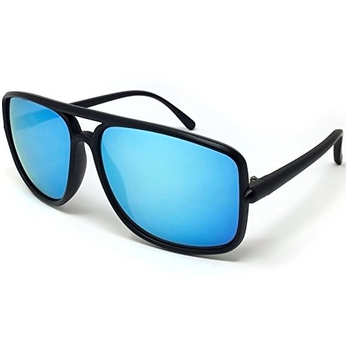 LOOSE LEAF Eyewear Men's Matte Black Frame Sunglasses in Smoke Blue Revo Lens Retro 70's Style ()