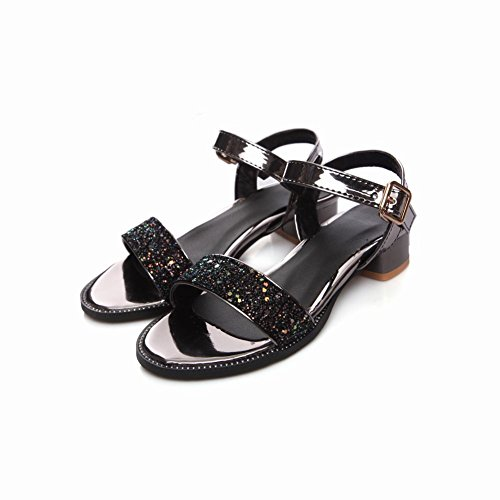 Mee Shoes Women's Chic Buckle Shining Sandals Black 7tX9FWXO
