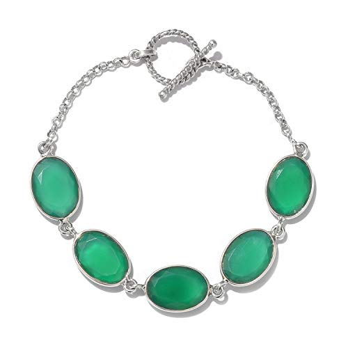 925 Sterling Silver Handmade Verde Onyx Toggle Clasp Bracelet for Women Gift Jewelry 7.25