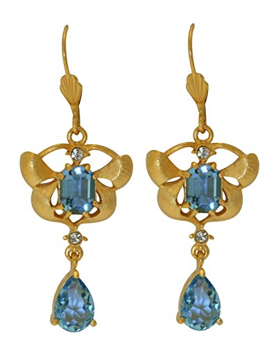 Orchid Delight Blue Earrings - Swarovski Crystal - Licensed by V&A Victoria and Albert Museum, London