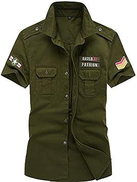 IYFBXl Camisa Militar para Hombres - Color sólido, Verde Militar, M: Amazon.es: Deportes y aire libre