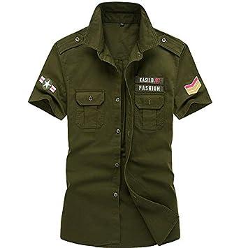 gran descuento 65e6d 520d3 IYFBXl Camisa Militar para Hombre - Color sólido, Verde ...