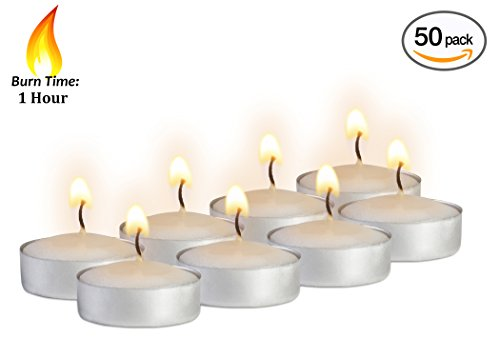 Mini Tea Light Candles - 50 Bulk Pack - White Unscented Travel, Centerpiece, Decorative Candle - 1 Hour Burn Time - Pressed Wax - By Ner Mitzvah - Mood Light Candles