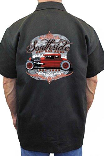 Hot Rod Mens Button Front (SHORE TRENDZ Men's Mechanic Work Shirt Southside Hot Rod Shop Black (XXL))