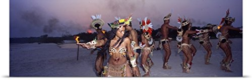 And Brazil Traditional Costumes Customs (Great BIG Canvas Poster Print entitled Theatre Group Amazon)