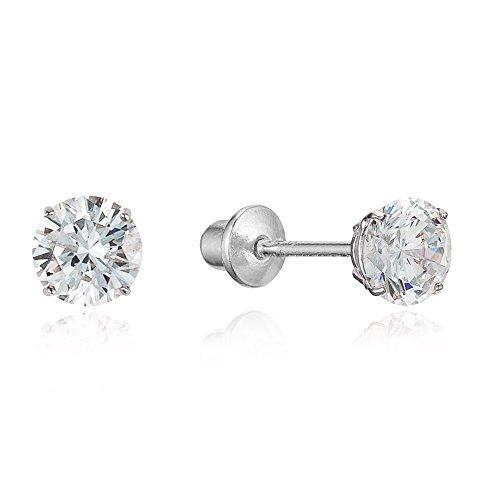 925 Sterling Silver Rhodium Plated 5mm Cubic Zirconia Stud Screwback Baby Girls Earrings