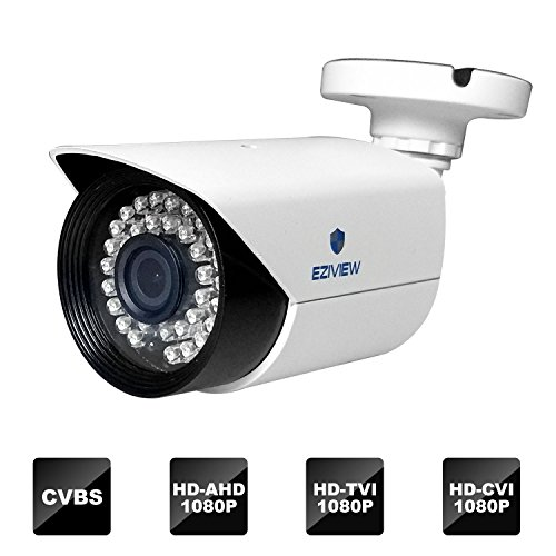 Bullet Security Camera,2 Megapixel CCTV Indoor/Outdoor HD TVI/CVI/AHD/ CVBS 4-in-1 1080P 3.6mm Lens by Eziview