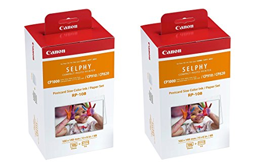- Canon Color Ink/Paper Set, Compatible with SELPHY CP910/CP820/CP1200, RP-108 (Pack of 2)