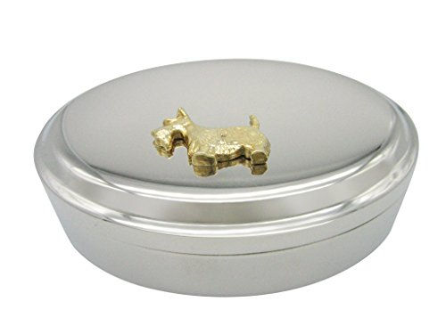 - Gold Toned Textured Scottish Terrier Dog Oval Trinket Jewelry Box