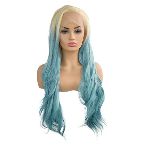 Hattfart Women Wigs Gradient Full Lace Long Curly Hair Cosplay Party Costume Wig Indian Hair (Blue) ()