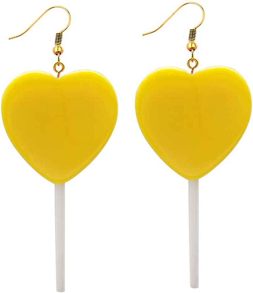 Mountainer Cute Heart Lollipop Candy Color Simulation Food Dangle Earring for Women Girl Funny Jewelry