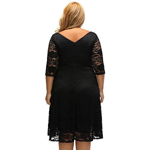 Evening Women's Sleeve Swing Size Dress 3 4 Sexy Floral Dress Lace Dress Lace Plus Black rXqzwr