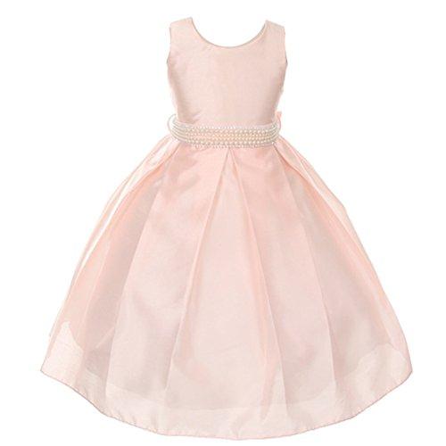 Silk Shantung Flower Girl Dresses - Little Girls Blush Pearl Adorned Waist Silk Shantung Flower Girl Dress 5/6