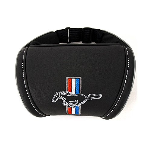 Mustang Embroidery (Car Neck Rest Pillow for Driving Mustang Accessories Interior Cushion with Emblem Embroidery (Color Black))
