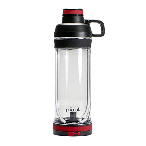 Water Bottle w/Dual Function, 160z - Store Your Essentials in Built-in Waterproof Compartment, Black/Red