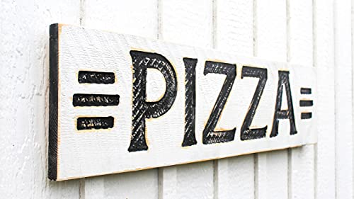 """Pizza Sign - Carved in a 40""""x10"""" Solid Wood Board Rustic Distressed Farmhouse Style Restaurant Kitchen Wooden Gift"""