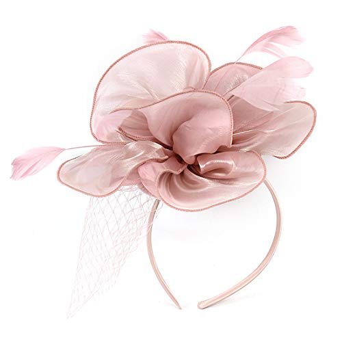 Sinamay Feather Fascinators Womens Pillbox Flower Derby Hat for Cocktail Ball Wedding Church Tea Party (Pink -