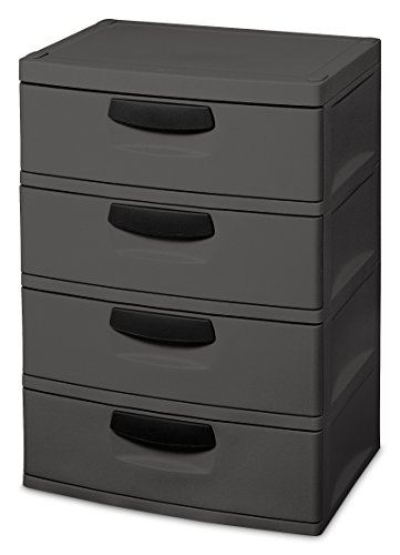 Sterilite 01743V01 4 Drawer Unit, Flat Gray with Black Handles & Drawer Interiors, 1-Pack (4 Drawer Chest Cabinet)
