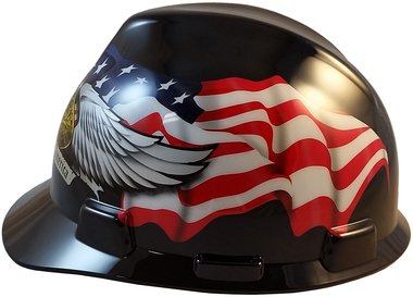MSA USA Freedom Series Hard Hat with Staz On Suspension - American Pride USA hard hats