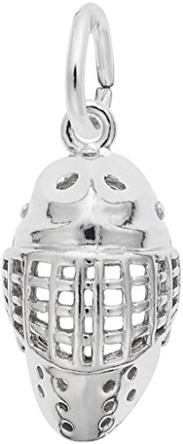 Rembrandt Hockey Goalie Mask Charm - Metal - Sterling Silver - Hockey Goalie Mask Charm