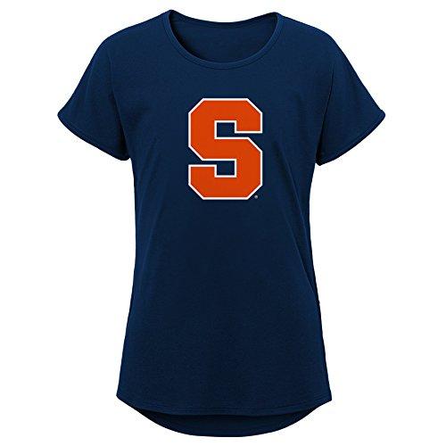 NCAA Syracuse Orange Youth Girls Primary Logo Dolman Tee, Youth Girls Medium(10-12), Dark Navy - Youth Orange Syracuse T-shirt