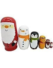 Healifty - Muñecas rusas de madera de matryoshka con diseño de Papá Noel apilables